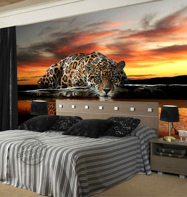 aliexpress : individuelle fototapeten tier leopard 3d, Wohnzimmer