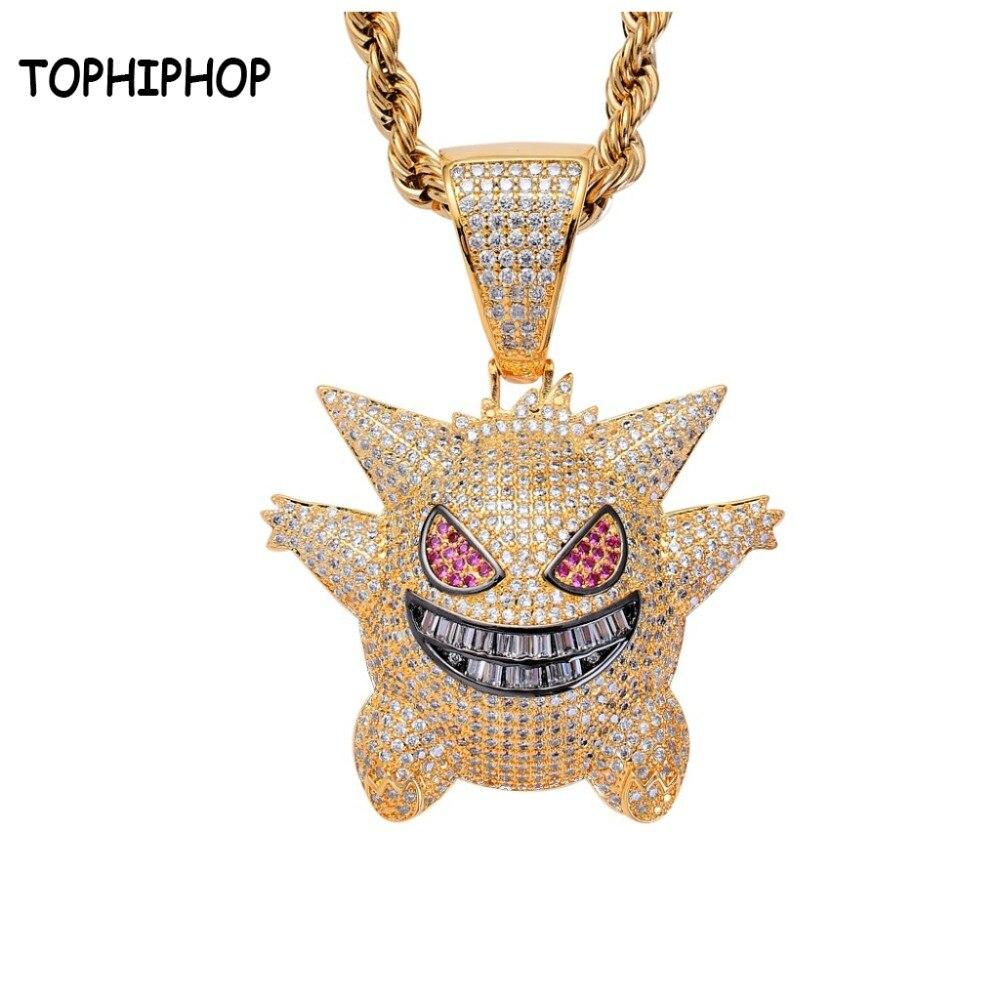 Anime Gengar AAA+Cubic Zircon Hiphop Pendants&Necklaces Pokemon Charm Cosplay Cool JewelryAnime Gengar AAA+Cubic Zircon Hiphop Pendants&Necklaces Pokemon Charm Cosplay Cool Jewelry