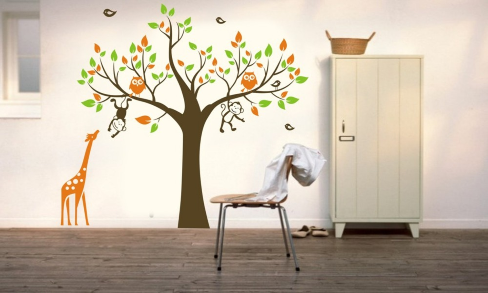 CORUJA Árvore MACACO Girafa Removível Art Wall Stickers Crianças Nursery  Decalque Do Vinil DIY Grandes Adesivos Part 78