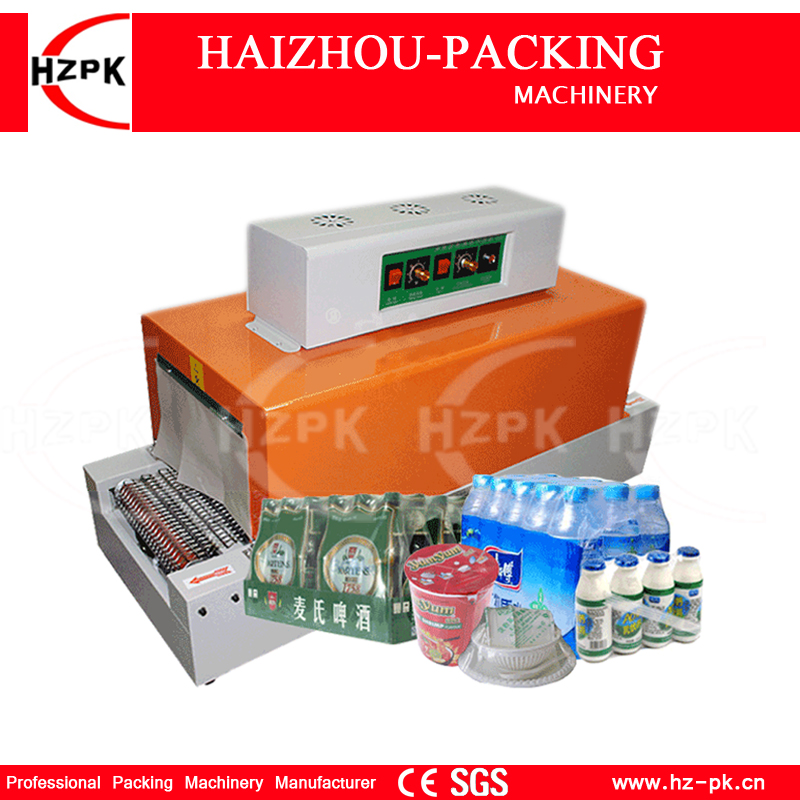 HZPK Automatic Shrink Machine PVC Film Shrinking Heat Package Sleeve Shrink Plastic Packing Machine Solid State