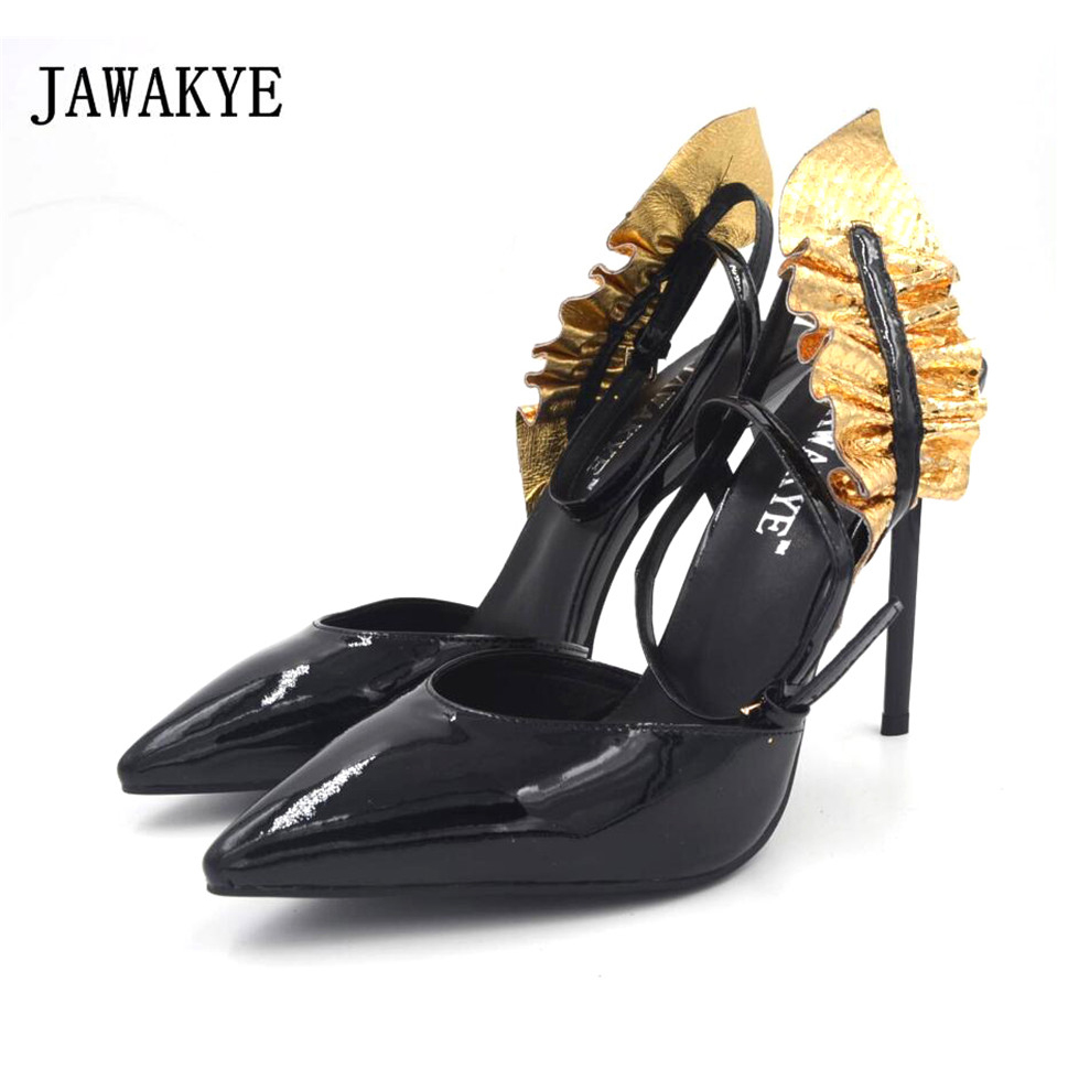 JAWAKYE Pointed Toe Patent Leather High heel Sandals Women gold flouncing Patchwork Ankle Strap High Heel Pumps Shoes Woman цена