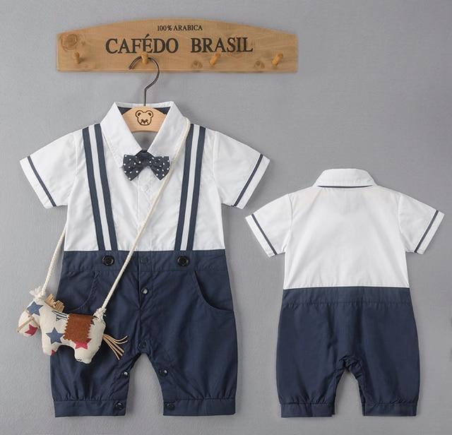 2016 мальчик ползунки (нет Пони Сумка) bow tie младенческой джентльмен ползунки малыша комбинезоны bebe rompers детские костюмы одежда