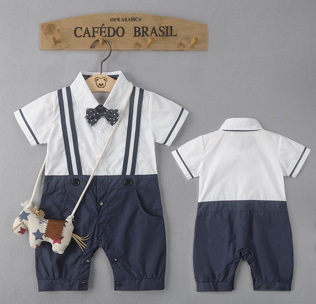2016 romper do bebê menino (nenhum Pônei Mochila) gravata borboleta infantil cavalheiro romper macacões criança bebe macacão traje do bebê roupas