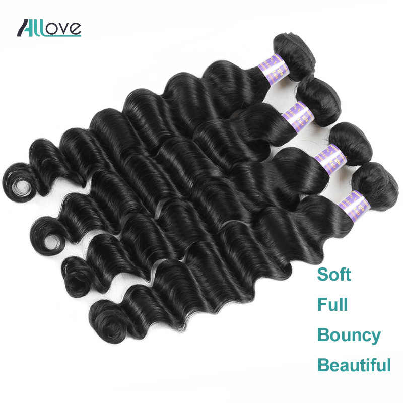 Allove gevşek derin dalga demetleri perulu saç demetleri insan saçı postiş 1/3/4 demetleri fırsatlar olmayan Remy saç örgü demetleri atkı