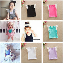2016 Summer Toddlers Baby Girls Lace Sleeve Tops Cotton T-Shirt Bluse Vest Top 0-4Yrs