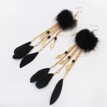 New Retro Mink hair ball Long Tassel Earrings Boho Bohemian Gold Leaves Feather earrings For Women Fashion Jewelry Wedding Gift