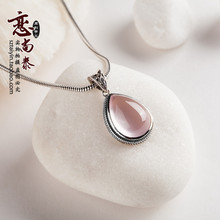 925 Sterling silver Pink crystal gota de agua collar Retro romántico piedras semi-preciosas naturales de cuarzo rosa colgante