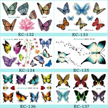EC-Series Women's 3D Colorful Waterproof Body Lip Art Sleeve DIY Stickers Glitter Temporary Tattoos Mini Flower Butterfly Tattoo