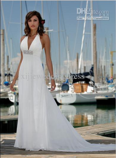 Wholesale Halter Wedding Dresses Chiffon Sleeveless V Neck Low Cut