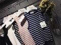 2016 Summer Korean Designer Striped Knitted Tank Tops O-neck Sleeveless Cropped Tops Female Vest Tide