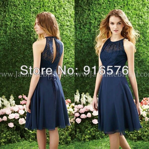 bec3fd257 Azul marino Una Línea de longitud de La Rodilla Gasa Vestido de dama de  Honor Vestidos Cortos De Seda Sash Corpiño de Encaje en Vestidos de dama de  honor de ...