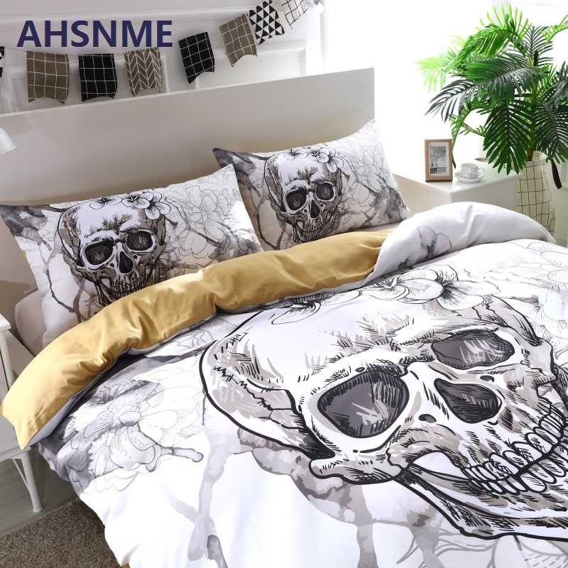 AHSNME Ink Painting Skull Duvet Cover Sets White Floral Bedding Set Gentle Skeleton Comforter Cover Soft Fabric King Queen