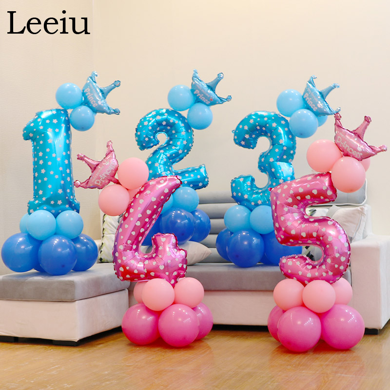 Leeiu 17Pcs Crown Number Foil Balloons 1 2 3 Years Happy Birthday Balloon Baby Shower Decor Digit Helium Ballons Party Supplie