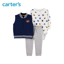 3pcs football print bodysuit cute slogan Side pockets vest set Carter s baby boy spring autumn