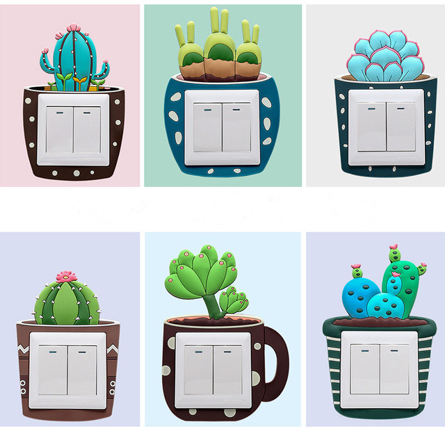 Luminous Cactus Switch Wall Stickers 2