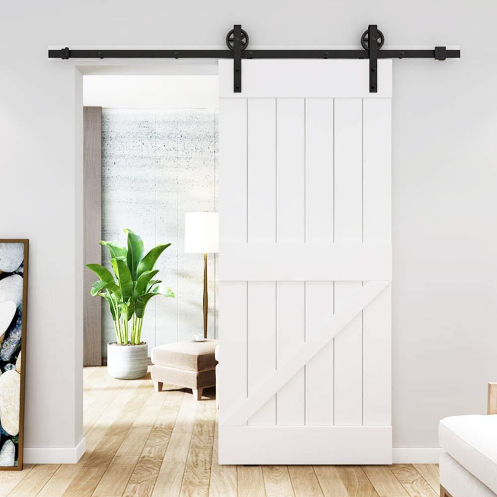 DIYHD TSQ15 Industrial Wheel Sliding Barn Wood Interior Closet Kitchen Door Hardware , Single Kit, Black