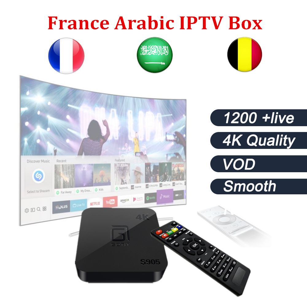 Android TV Box s905+ French iptv Box with 1 Year 1200+ Arabic France Belgium IPTV code Live TV & VOD include smart tv box belgium culture smart