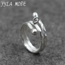 Fyla Mode 925 Sterling Silver Ring Jewelry Original Design Minimalist Style Women Thai Silver Open Finger Ring PKY194
