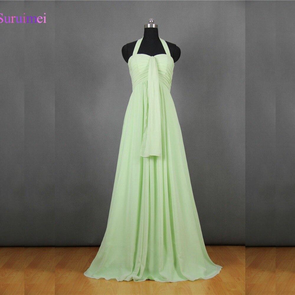 Halter Long Lime Green   Bridesmaid     Dresses   Vestidos De Chiffon Brides Maid   Dress   Free Shipping