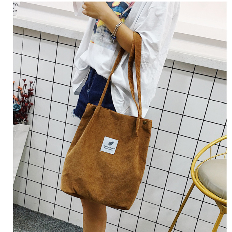 Shoulder-Bag Beach-Bag Corduroy Tote Foldable High-Capacity Casual Women Ladies Solid