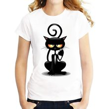 Pussy t shirt Women Tops Casual Summer Black Cat Naughty T-Shirt Woman Tshirt Funny Tee Shirt Femme Camiseta Feminina(China)