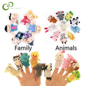New Baby Plush Toy Finger Puppets Tell Story Props 10pcs Animals and 6pcs Family Doll Kids Toys Children Gift WYQ