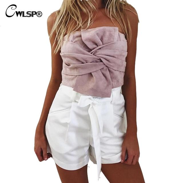 Strapless Sexy Colheita Top Tanques Camis Das Mulheres Camurça Frente Bow-knot Voltar Zipper Mulheres Tshirt Top cropped Sólida Rosa feminino QL2899