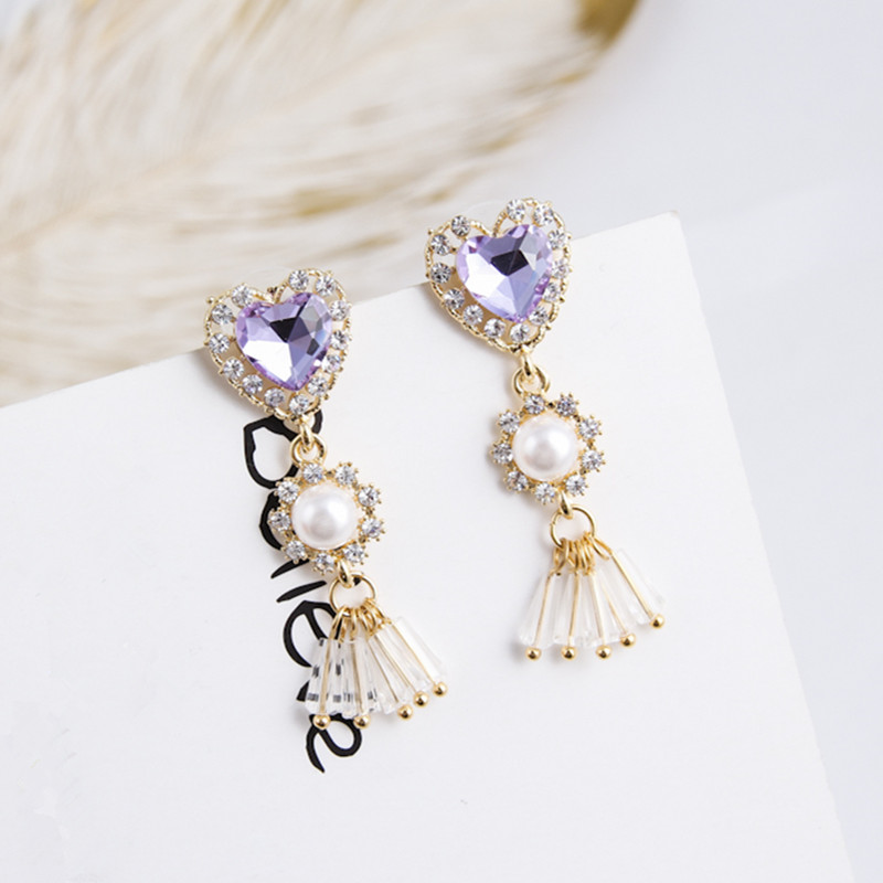Clip on Earring Backs with Pads Dangle Red Heart Simulated Pearl for Women Girls Kids Jewelry Gift Box