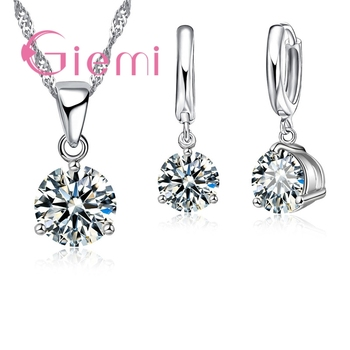 8 Colors 925 Sterling Silver Wedding Elegant Jewelry Sets Crystal Pendant Collar Necklace Earrings Women Decoration Set elegant triangle alloy shirt collar tips necklace silver