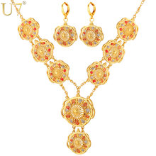 U7 Wedding Jewelry Set for Brides Wholesale Gold Color Trendy Round Long Earrings Charms Necklace Set For Women S630(China)