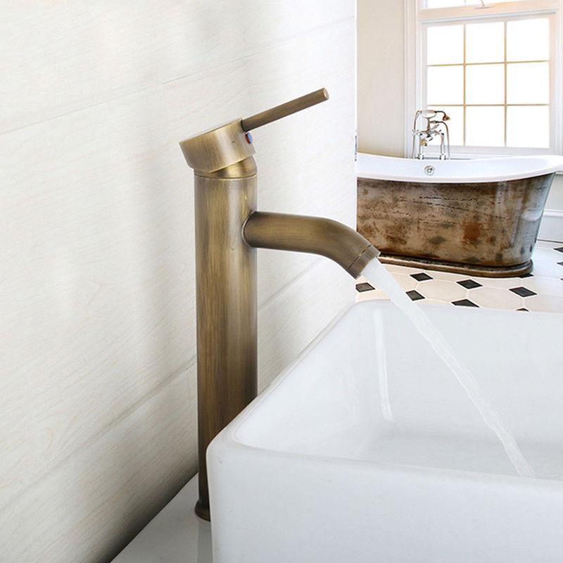 Antique Brass Deck Mount Bathroom Faucet Vanity Vessel Sinks Mixer Tap Cold And Hot Water Tap KD523Antique Brass Deck Mount Bathroom Faucet Vanity Vessel Sinks Mixer Tap Cold And Hot Water Tap KD523