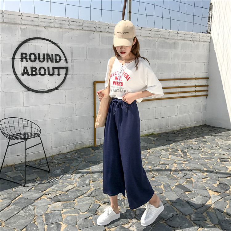 19 Women Casual Loose Wide Leg Pant Womens Elegant Fashion Preppy Style Trousers Female Pure Color Females New Palazzo Pants 47