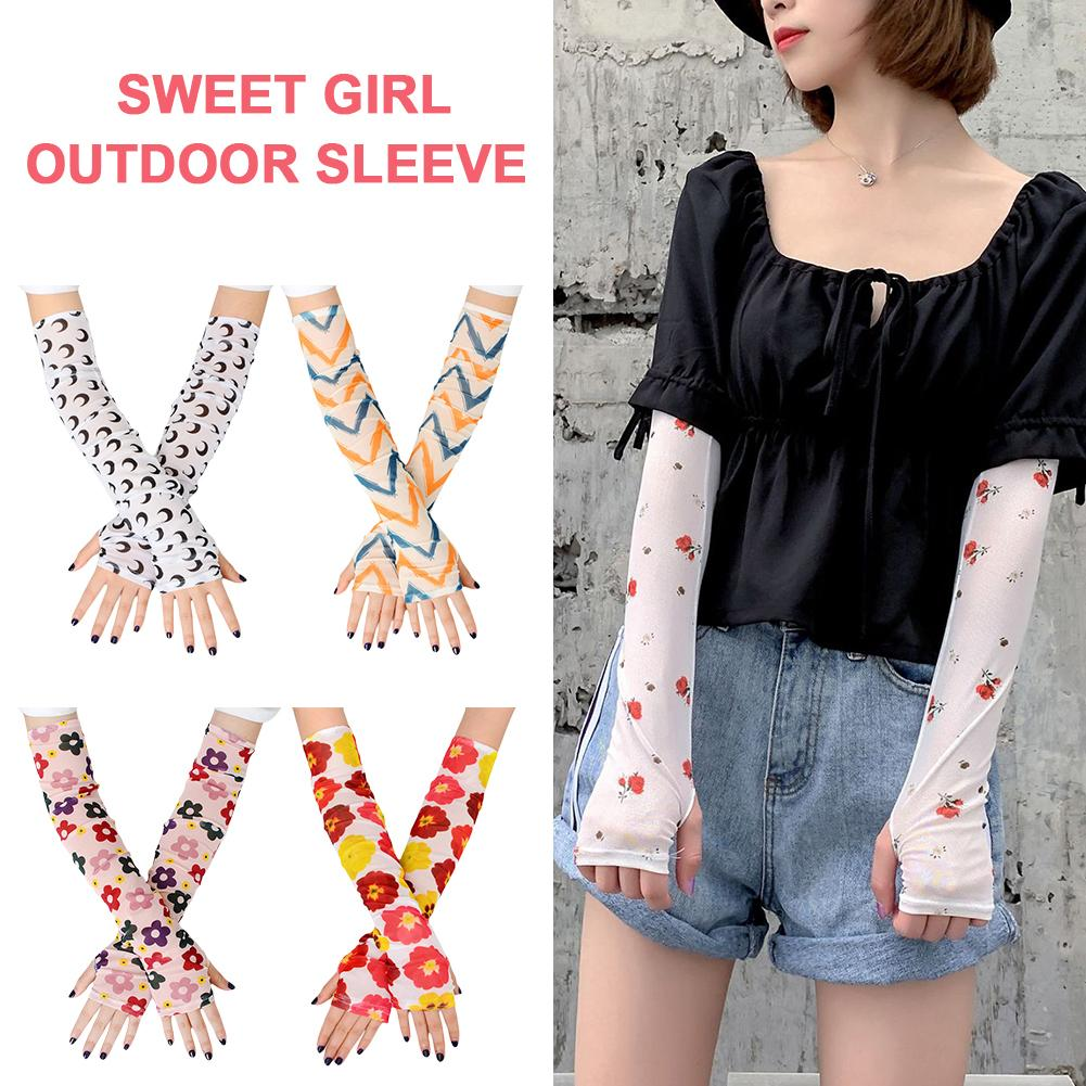 1 Pair Sun Protection Arm Sleeves Outdoor Sunscreen Cuff Sweet Girl Style Printing Viscose Female Arm Guard Resistant Sleeve