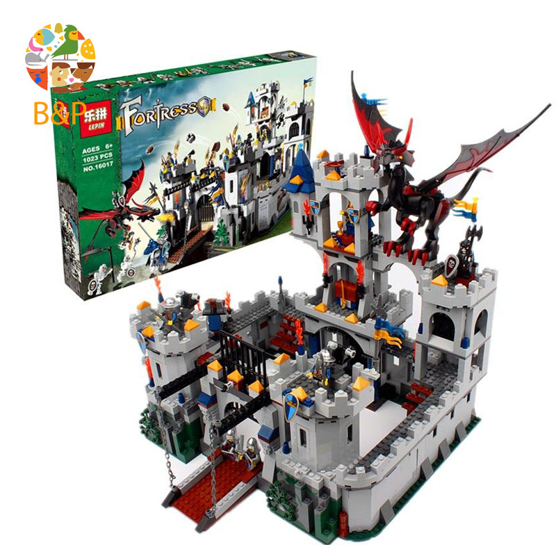 Legoing 7094 1023Pcs Castle Seriess The King\'s Castle Siege Building Blocks Brick Educational kit Toys For Children LEPIN 16017 classic movie series king castle siege review building block mini ghost archer figures dark fiery dragon lepine bricks 7094 toys