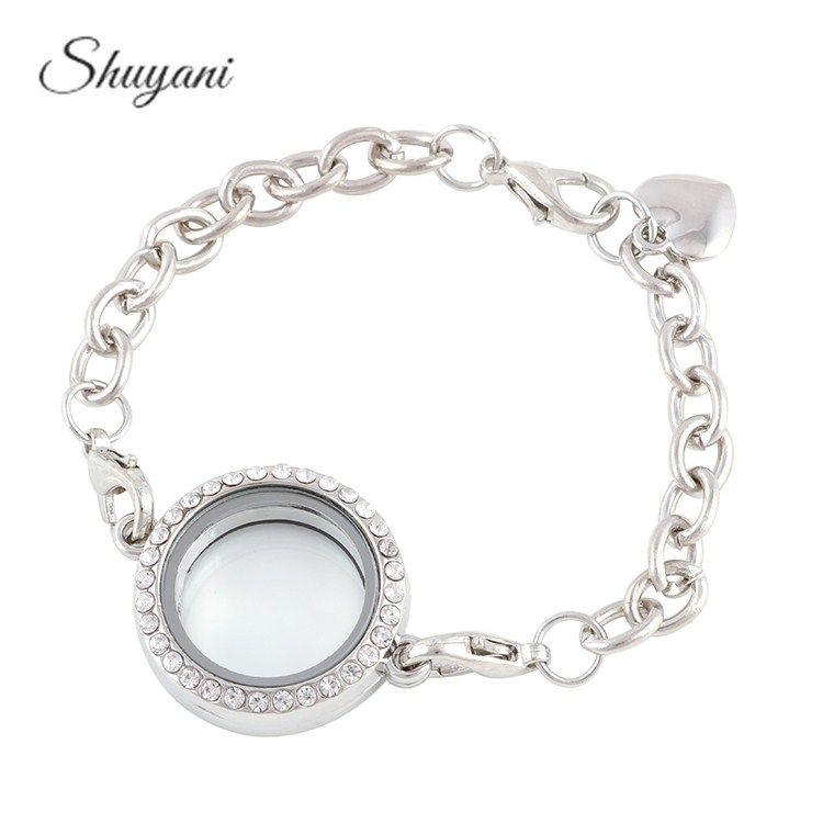 10pcs/lot 25mm Round Openable Rhinestone Magnet Photo Glass Living Memory Locket Bracelet Floating Locket Bracelet Bangles