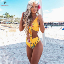 c6a4b35fb Ariel Sarah Floral High Waist Bikini Sexy Women Swimsuit Print Swimwear  Brazilian Bikini Set Bathing Suit