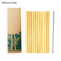 Hot Sale 100pcs/10sets Bamboo Drinking Straws Eco Friendly Party Kitchen Reusable with Clean Brush for Drop Shipping wholesale