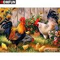Алмазная 5D картина HOMFUN «сделай сам», полноразмерная/круглая вышивка крестиком «курица-животное», подарок для домашнего декора, A02067