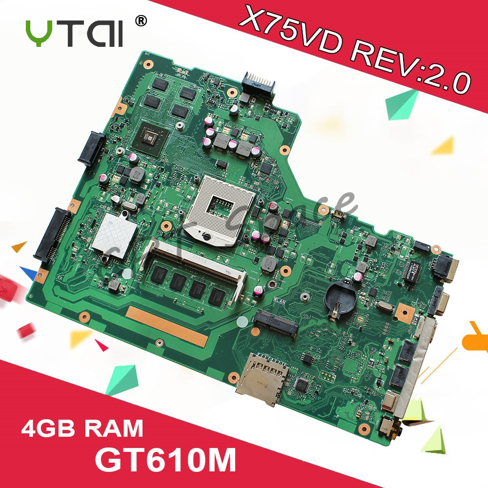 X75VD motherboard REV 2 0 GT610M For ASUS X75V X75VC X75VB R704V X75VD laptop motherboard DDR3