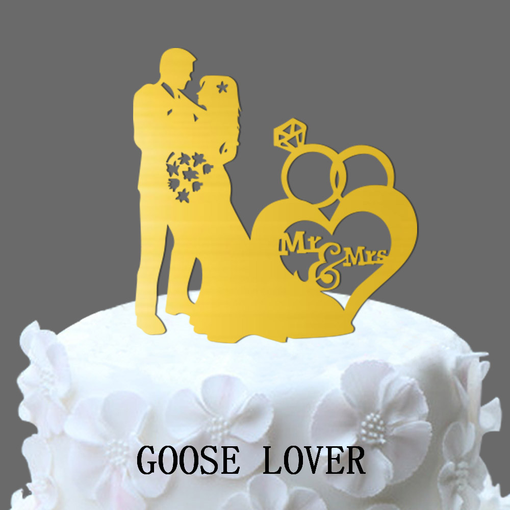 Romantic Ring Custom Wedding Cake Topper Silhouette Bride and Groom ...