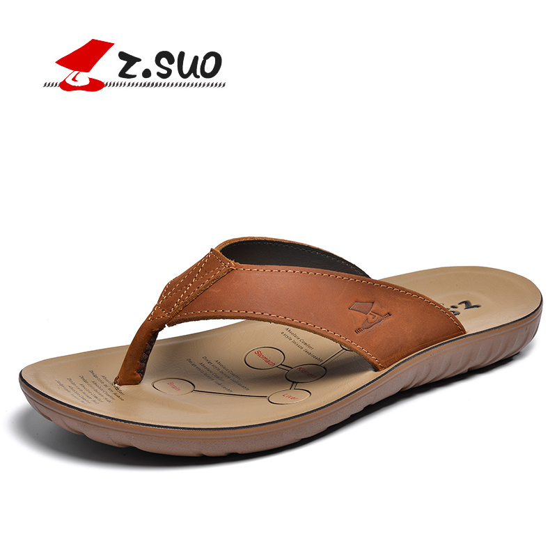 Z.SUO Brand Summer New Style ZS16618 Fashion Comfortable Slippers Waterproof Breathable Cow Leather Men's Flip Flops