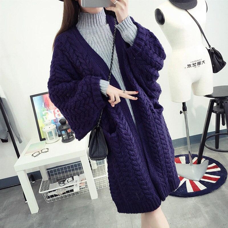Mujeres Suéteres descuentos temperamento v-cuello suéter mujer Twist suelta  Chaqueta de punto cardigan mujeres suéter grueso mujer ropa 81684882e502