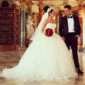 2016 на заказ милая рукавов бальное платье принцессы свадебные платья с бусины свадебные платья Vestido де Noiva IV375