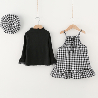 Girls Clothes 2017 Toddler Girl Clothing Sets Flare Sleeve Shirt Plaid Strap Dress Cap 3pcs Sets