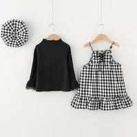 Girls Clothes 2017 Toddler Girl Clothing Sets Flare Sleeve Shirt Plaid Strap Dress Cap 3pcs Sets