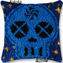 Crocheting Rug Kits Yarn 3d carpet tools Handmade cross-stitch latch hook rug Ghost head cushion embroidery needlework sets(China)
