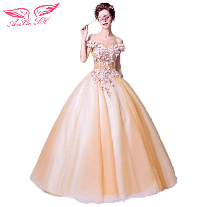 AnXin SH Romantic goddess of gold flowers evening dress word shoulder Princess Bride evening Dress Toast 2221