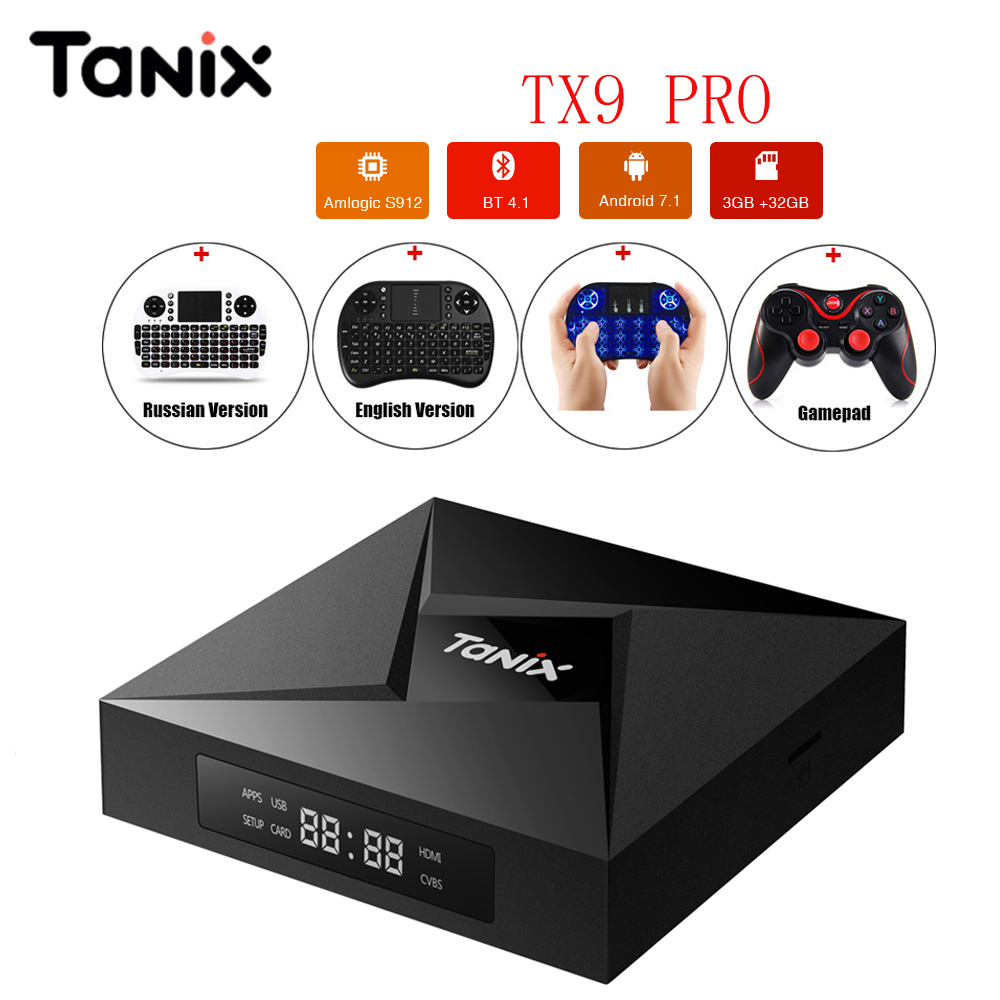 Tanix TX9 Pro TV Box Bluetooth 4.1 3G 32G Amlogic S912 Android 7.1 Octa Core WiFi Set Top Box Media Player PK x96 GT1 Ultimate beelink gt1 ultimate 3g 32g tv box android amlogic s912 octa core media player 5g wifi bt 4 0 smart box set top box pk x92
