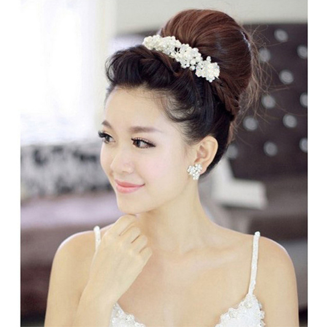 Романтические свадебные Женские аксессуары для волос для невесты Crystal Pearl Цветы Банданы для мужчин модные женские туфли диадемы волос Корона Мода Украшения для волос