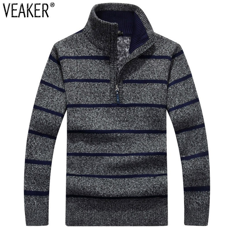 2019 Autumn  New Men's Striped Sweatercoat Pullovers Male Winter Thick Sweaters Coat Stand Collar Slim Fit Knitted Pullover 3XL
